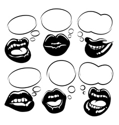 Set black lips with bubble speech vector