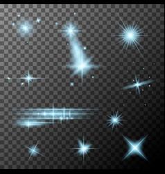 Set blue lens flares cyan sparkles shine vector