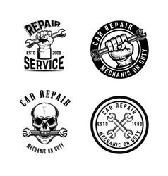 Set car repair emblems design element for logo vector