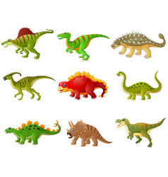 Set cartoon dinosaurs collections vector