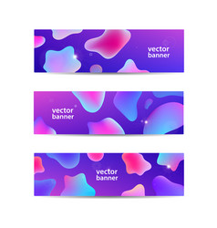 set horizontal abstract liquid banners vector image