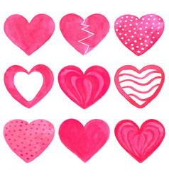 set of pink watercolor hearts vector image