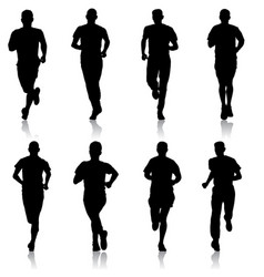 Set of silhouettes runners on sprint man vector