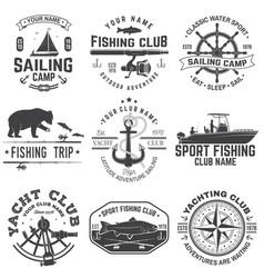 set sailing camp and fishing club badges vector image
