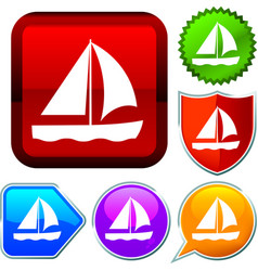 Set shiny icon series on buttons sailing vector