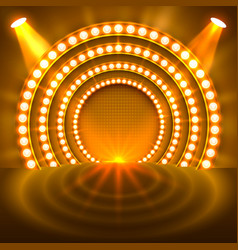 Show light podium gold background vector