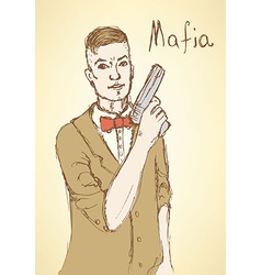 Sketch fancy mafia in vintage style vector image
