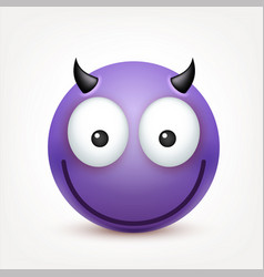 smileyemoticon violet face with emotions facial vector image