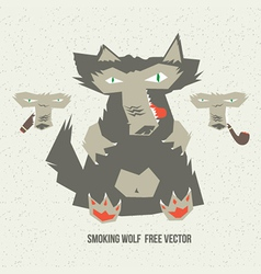 Smoking wolf vector
