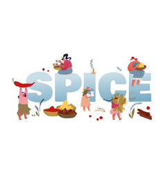 spice and seasoning concept women with vector image