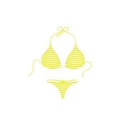 Striped bikini suit in yellow and white design vector