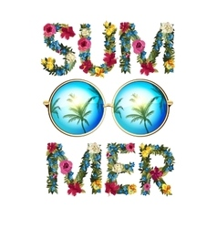Summer shiny sun With floral vector image