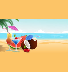 summertime food drinks sweet vector image