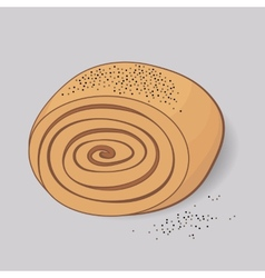 sweet roll with poppy seeds vector image