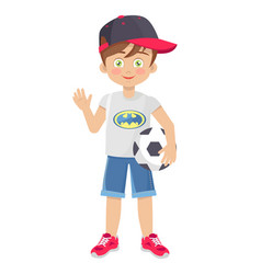Template of little boy with football ball vector