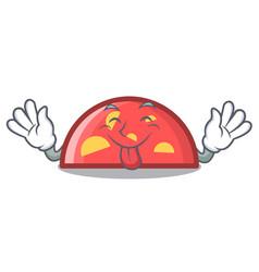 tongue out semicircle mascot cartoon style vector image