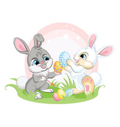 Two easter bunnies characters with eggs vector