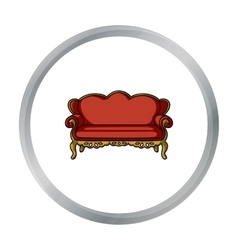Vintage sofa icon in cartoon style isolated on vector