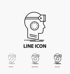 Vr googles headset reality virtual icon in thin vector