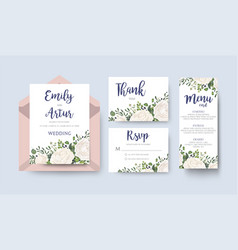 wedding floral invitation invite card design set vector image