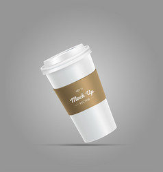 White coffee cup mockup with brown holder vector