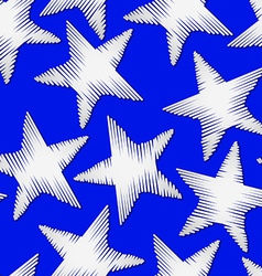 White star embroidery stitching seamless pattern vector