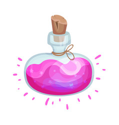 Wide flask with a magic pink elixir vector