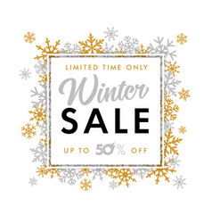 winter sale limited time snowflake banner vector image