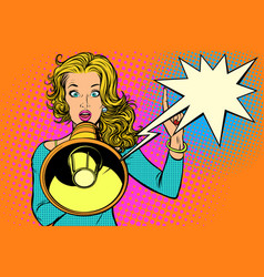 Woman with megaphone protest or advertisement vector