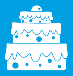 big cake icon white vector image