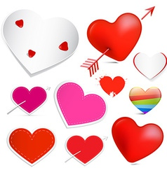 Hearts Set Isolated on White Background vector image vector image