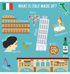 Italy travel set Famous places and symbols of vector image vector image