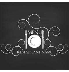 Restaurant menu on blackboard background vector image