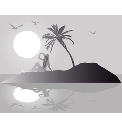 silhouette island vector image vector image