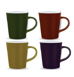 collection of four mugs vector image vector image