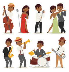 jazz music band flat group cartoon musician people vector image