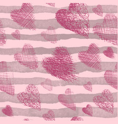 beautiful seamless pink background with hearts vector image vector image