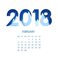 calendar 2018 year februaryorigami mountains vector image