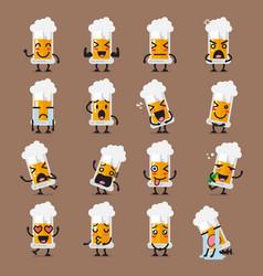 glass of beer character emoji set vector image