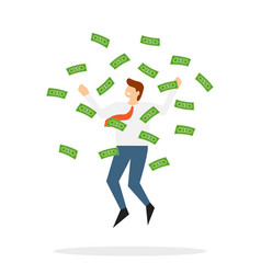 happy businessman jumps under money rain vector image