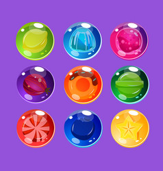 bright colorful glossy candies with sparkles vector image