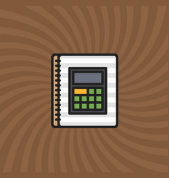 document calculator icon simple line cartoon vector image vector image