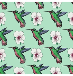 seamless background with hummingbird vector image