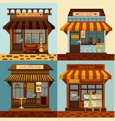 shops facades set vector image