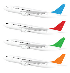 Airplane in colored tail set with one motors vector