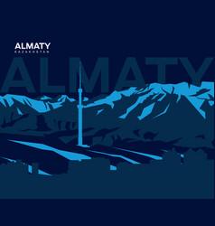 Almaty mountains vector