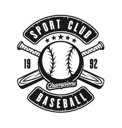 Ball and two crossed baseball bats emblem vector
