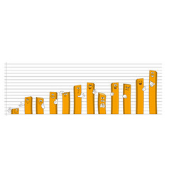 Bar chart with cartoon faces and hands vector