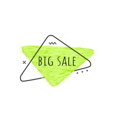 big sale text on lime green grunge triangular vector image