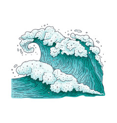 Big strong sea wave drawing - teal blue ocean vector